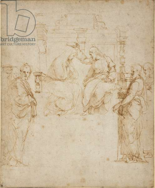 The Coronation of the Virgin, WA1846.206 (pen & brown ink over blind stylus, the edges of the sheet ruled in black ink)