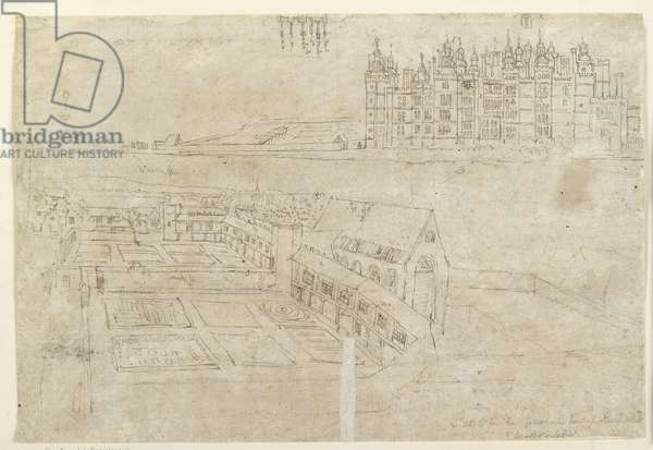 Recto: The River Front of Richmond Palace and Privy Gardens (pen and brown ink over faint indications in black chalk)
