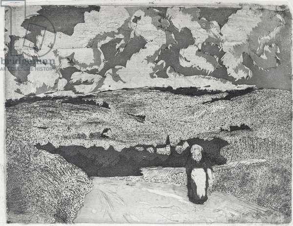 La femme sur la route, 1879 (aquatint and drypoint)