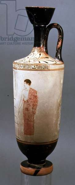Attic white-ground lekythos decorated with a youth dressed in a grey himation, from Laurium, Attica, c.450-425 BC (ceramic) (for verso see 104791)