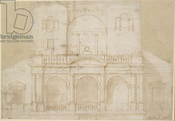 Recto: Architectural Design (Villa Madama), WA1846.215 (pen & brown ink with brown wash on off-white paper over geometrical indications in stylus)