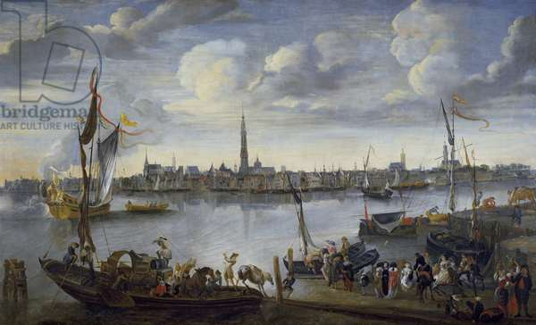 Antwerp from the Further Bank of the Scheldt, 17th century (oil on canvas)