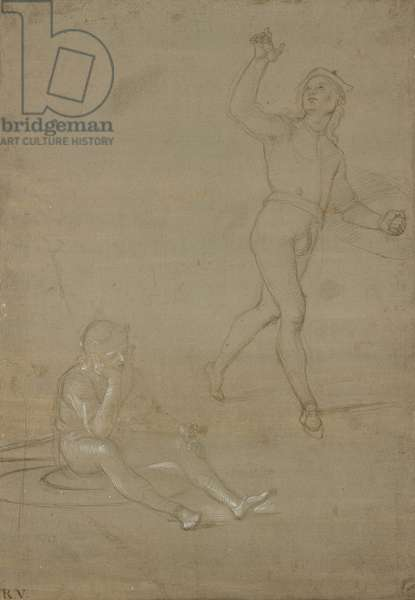 Studies for two soldiers, one asleep, the other standing, WA1846.149 (metalpoint on brownish-grey prepared paper with white heightening, partially oxidised)