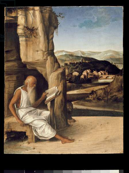 St. Jerome Reading in a Landscape (oil on panel)