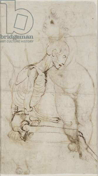 Verso: Study of a Skeleton, WA1855.91 (pen & brown ink over leadpoint, with red chalk)