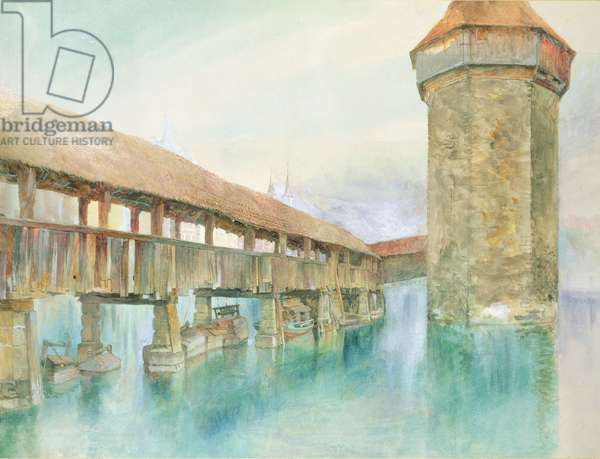 Kapelbrucke, Lucerne, 19th century (w/c on paper)