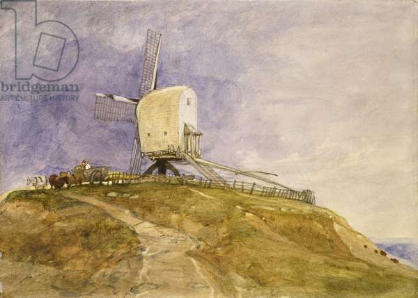 Windmill on a Hill, 19th century (w/c on paper)