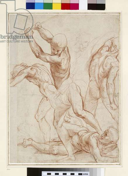 Combat of nude Men (red chalk on paper)