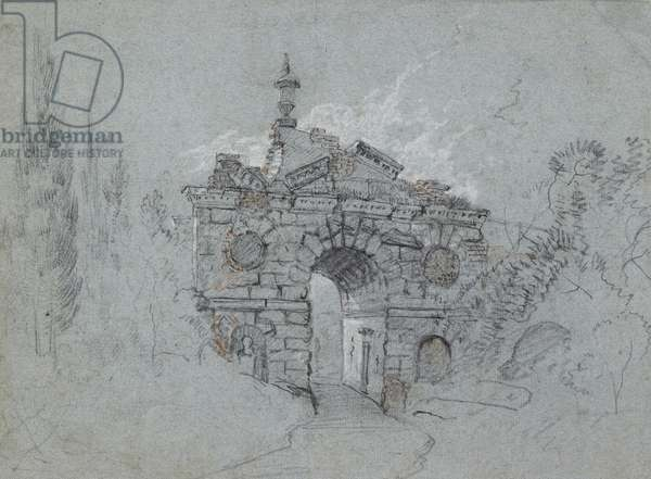 Recto: The Ruined Arch at Kew (red, black and white chalk on blue paper)