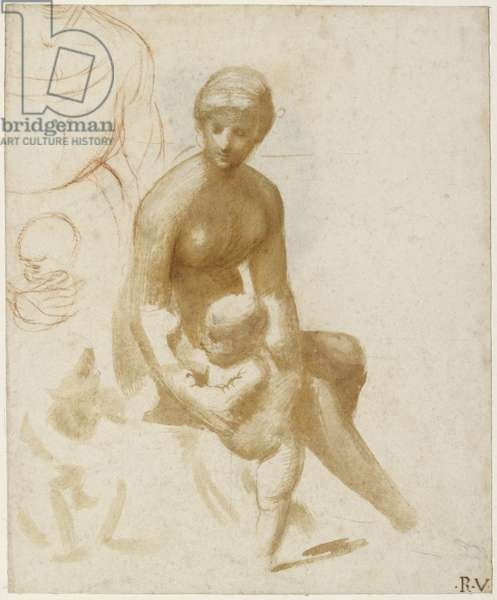 Studies for a Virgin and Child with the Infant St John, WA1846.161 (brush and pale-brown wash with white heightening, over some leadpoint, with red chalk (sketch on the top left), possibly indented for transfer (selectively on the main group of the virgin and child) and marked with auxiliary pin points, over a faint grid)