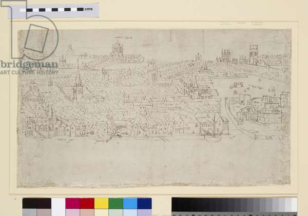 Billingsgate to Tower Wharf, from 'The Panorama of London', c.1544 (pen and ink and chalk on paper)