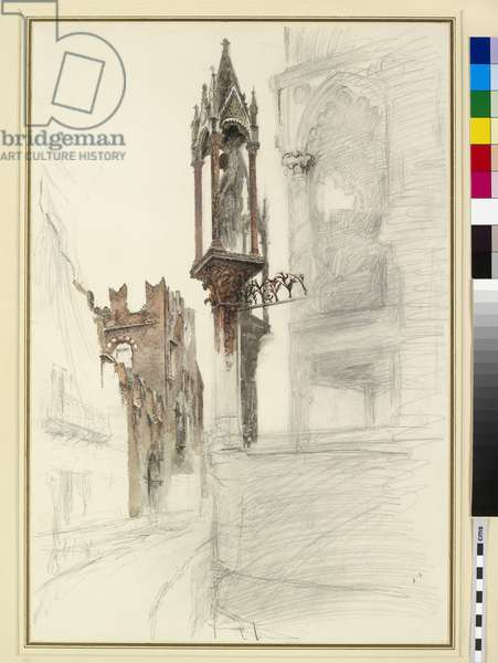 The Tomb of Cansignorio (d.1375), Santa Maria Antica, Verona (pencil & w/c on paper)