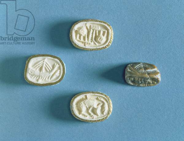 Seal with three impressions from Knossos, early Minoan (steatite)