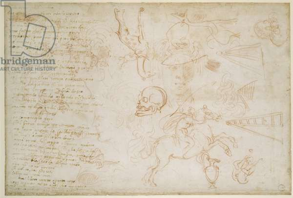 Study of heads and animals, c.1525 (red chalk & pen on paper)