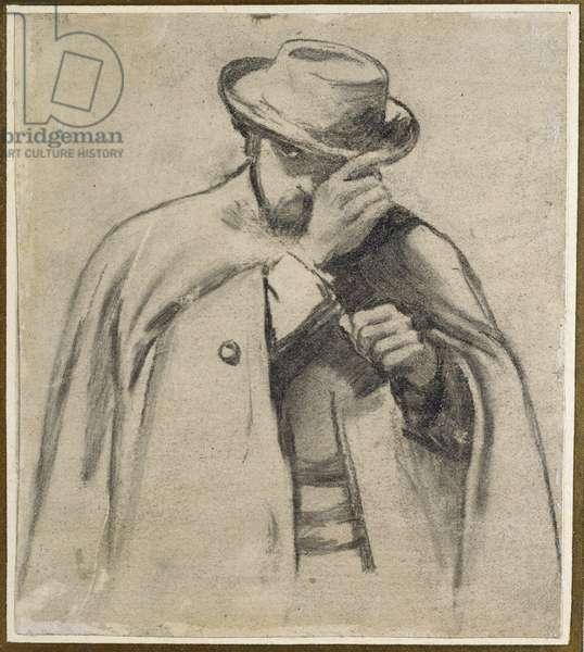 Dante Gabriel Rossetti (charcoal on grey paper)