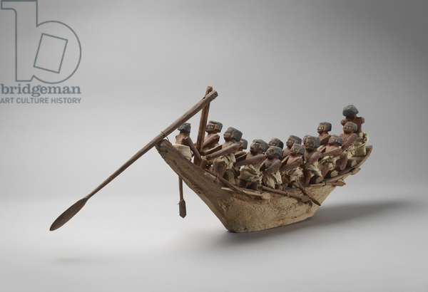 Model funerary boat, from Beni Hasan, probably Middle Kingdom, c.2060-1786 (mixed media)