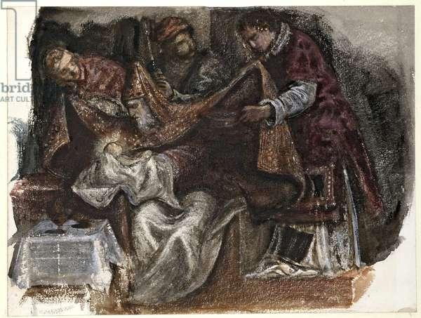 """Study from Tintoretto's """"Circumcision"""" in the Scuola Grande di San Rocco, 1862 (watercolour on wove paper)"""