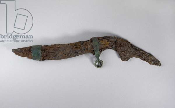 Large knife with remains of sheath, probably from Sopron, Hungary, Iron Age (Iron and wood)