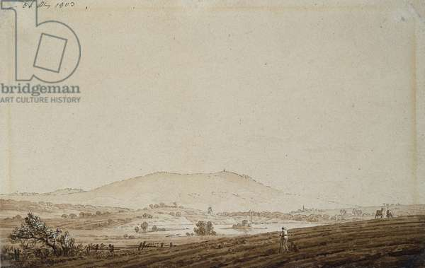 Landscape in Bohemia with a view of Mount Jeschken, 1803 (pen & ink wash on paper)