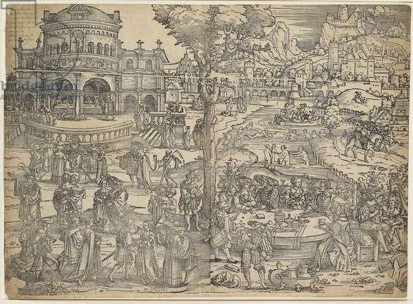 The Feast of Herod (woodcut, printed from two blocks)