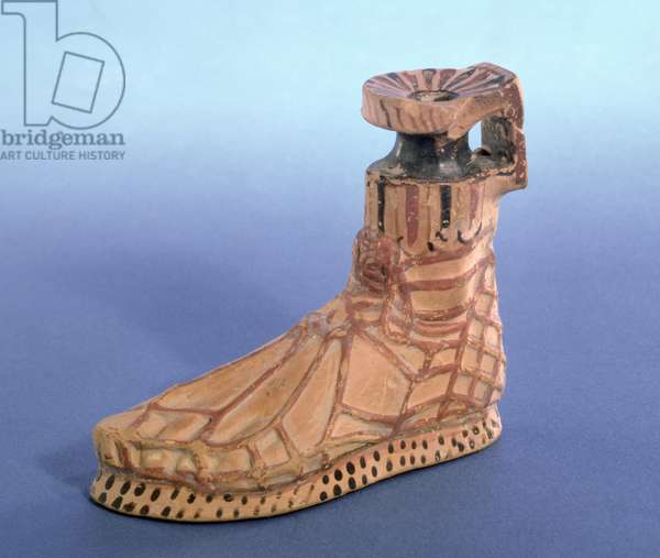 Perfume bottle in the shape of a sandled foot, Greek, from Taranto (ceramic)