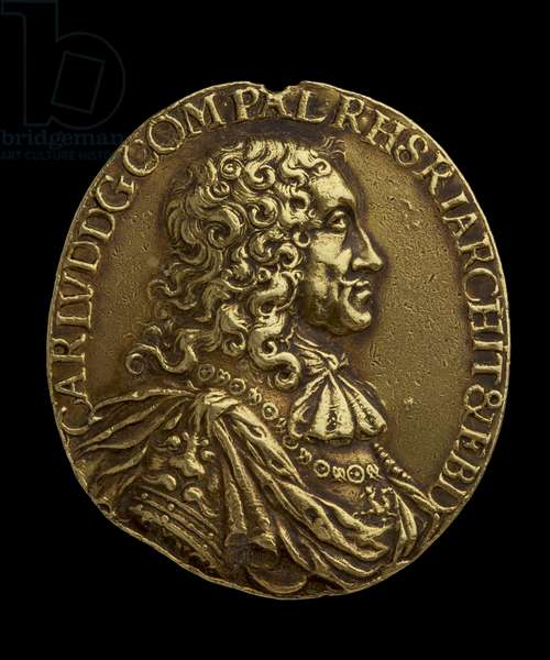 Medal awarded to Elias Ashmole - showing  Bust of Karl Ludwig of Bavaria, Elector of Palatine, 17th century (gold)
