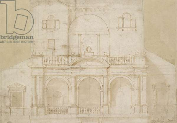 Architectural Design (Villa Madama) (pen and brown ink with brown wash on off-white paper)
