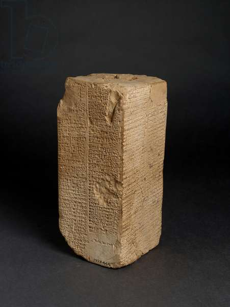 Baked Clay Prism ('Weld-Blundell Prism') with the Sumerian King List giving rulers from 'before the Flood' to King Sin-magir of Isin (c.1827-17 BC) inscribed in cuneiform script, probably from Larsa, Iraq (stone)