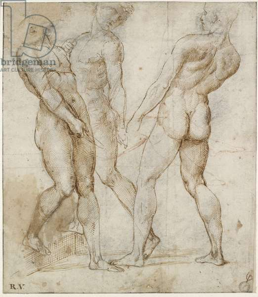 Three nude bearers (study for the Entombment of Christ), WA1846.173 (pen & brown ink over black chalk, with red chalk over geometrical indications)