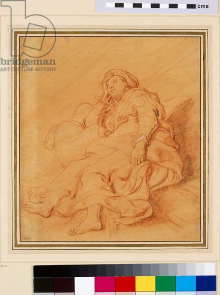 Study of the Figure of Rachel, c.1621 (red chalk with black and white chalk on orange prepared paper)