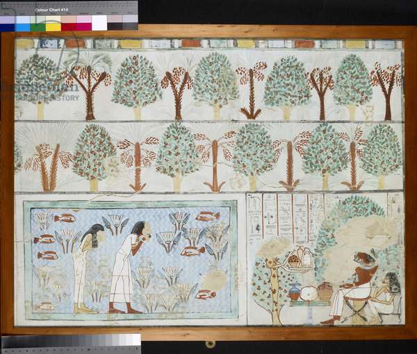 Copy of wall painting from private tomb 63 of Sebkhotpe, Thebes (I, 1, 125-128) man and wife in garden (tempera)
