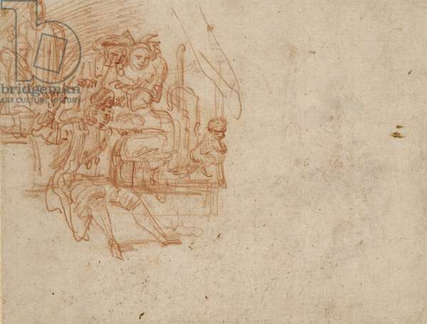 Verso; Quack Doctor seated on Stage, selling his Wares (red chalk on paper)