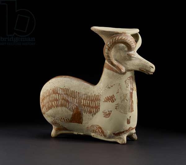 Couchant Ram Vase (painted terracotta)