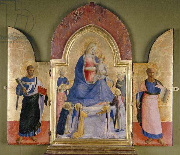 The Virgin and Child with Angels and Dominican Saints, St Peter (left) and St Paul (right) (tempera and gilding on panel)