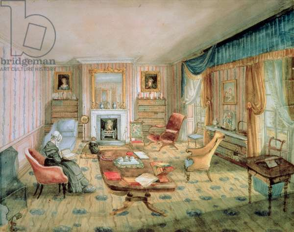 The Drawing Room, White Barnes, f.55 from an 'Album of Interiors', 1843  (w/c on paper)