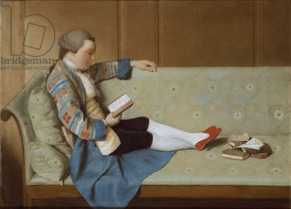 Portrait of a Man Reading - John Farr Reading Horace's Odes (oil on canvas) (post-restoration)