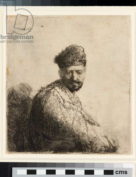 Bearded man in furred oriental cap: the artist's father, 1631 (etching)