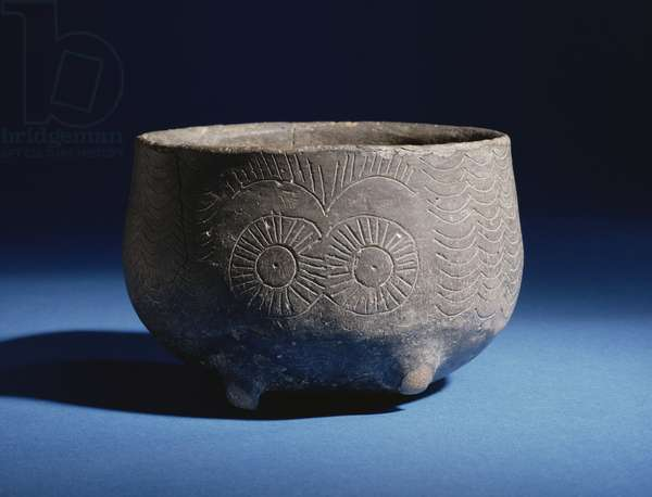 Bowl, with incised decoration depicting stags, from Los Millares, Spain, Copper Age, c.2000 BC (pottery)
