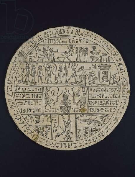 Amuletic disk (hypocephalus) made for Tasheritenkhonsu, c.664-525 BC (linen and plaster)