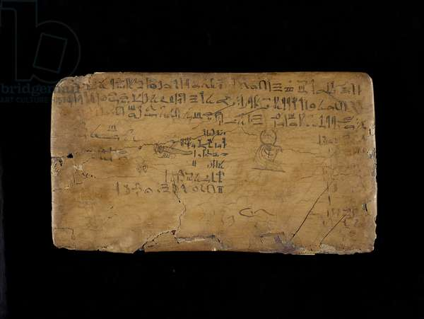 Writing board with lines from 'The Hymn to the Nile Flood' (wood, gesso, linen & ink)