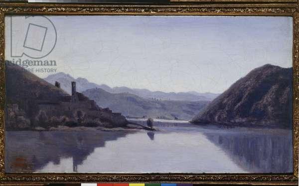 Lago di Piediluco, Umbria, 19th century (oil on canvas)