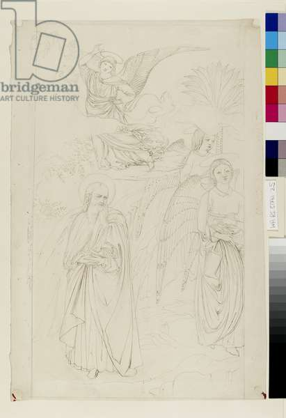 """Drawing of Abraham parting from the Angels from Benozzo Gozzoli's """"Story of Abraham and Hagar"""" in the Camposanto, Pisa, 14 - 15 May 1845 (pen and ink over graphite on wove paper)"""