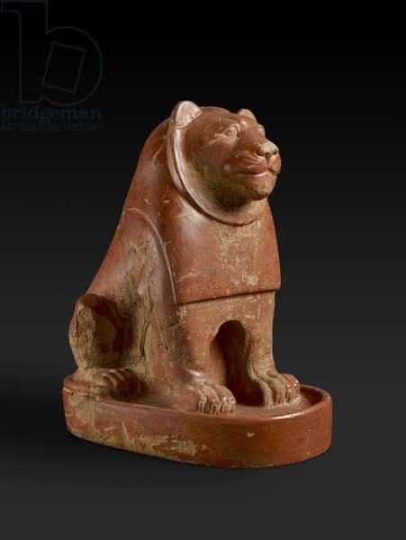 Statuette of a Lion seated on a plinth, from the temple precinct at Hierakonpolis, Egyptian, late Protodynastic, end of the Old Kingdom, c.2700-2200 BC (pottery)