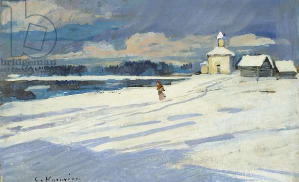 Winter Landscape with a small Church (oil on board, mounted as a drawing)