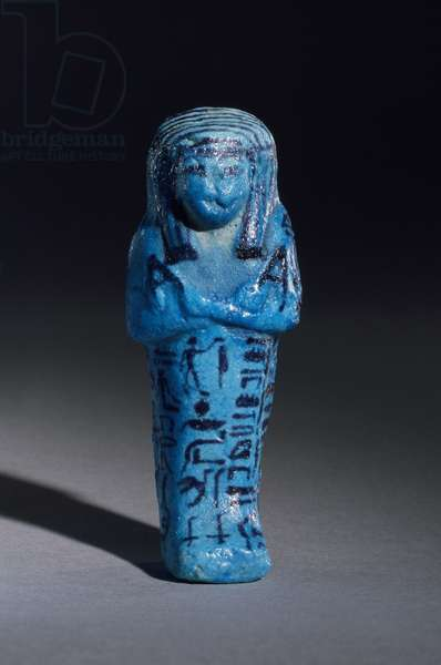 Figurine inscribed for the priest of Amun, Amenemope and Shawabti from Tomb 148, Thebes, New Kingdom, c.1193-1080 BC (glazed faience earthenware) (detail of 110408)