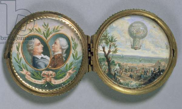Portrait Miniature of J.F. Pilatre and Pierre Romain with a Scene of their Balloon Ascent, 1784 (gouache on vellum)