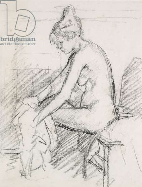 Study of a Nude Female, seated, drying her right Foot (charcoal)
