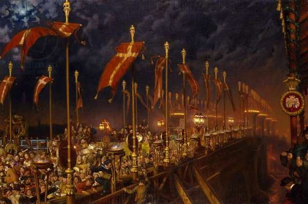 London Bridge on the Night of the Marriage of the Prince and Princess of Wales, 1863-6 (oil on canvas)