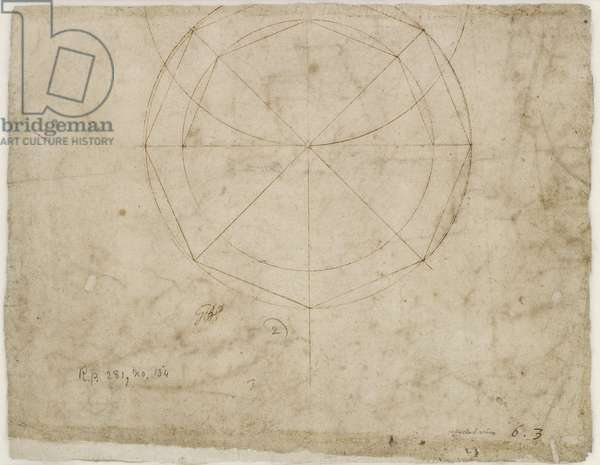 Verso: Spherical geometric design, WA1846.199 (pen & brown ink, the faint circle bleeding from the verso)