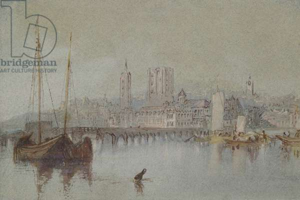 Beaugency, c. 1830 (watercolour with bodycolour and pen and reddish-brown ink)